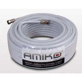 Antennekabel Amiko RG6W10CCS40 med 2 F-stik, 6,8mm, 20m, hvid