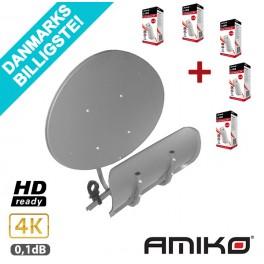 Amiko D55 Toroidal Multibeam Parabol + 5 stk. gratis single LNB hoveder
