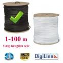 Antennekabel Digiline - RG6 U/Stik Sort - Vælg selv længden