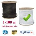 Antennekabel Digiline - RG6 U/Stik Hvid - Vælg selv længden